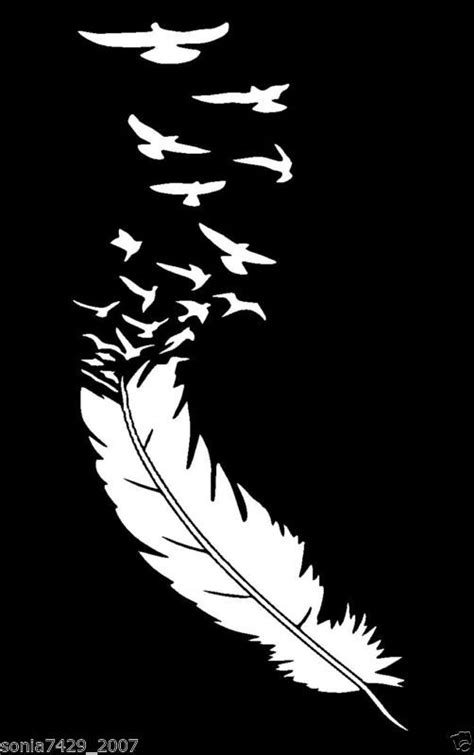 Feather With Birds White Vinyl Decal Cute Funny car truck