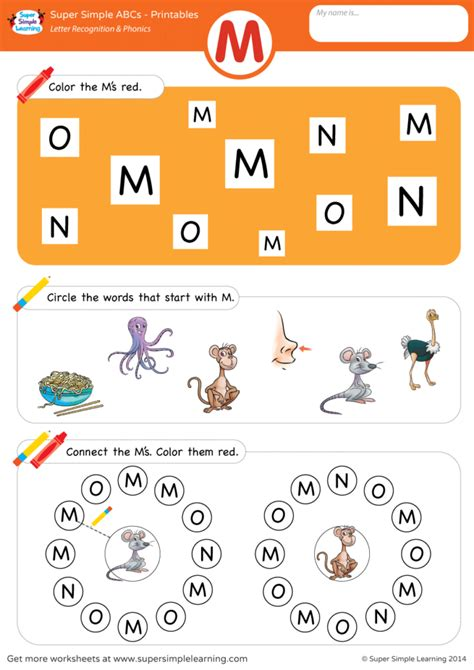 letter recognition phonics worksheet m uppercase