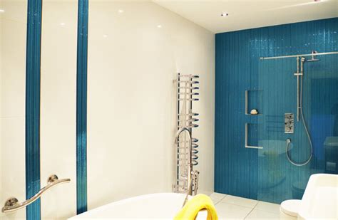 bathroom feature wall  blue glass contemporary