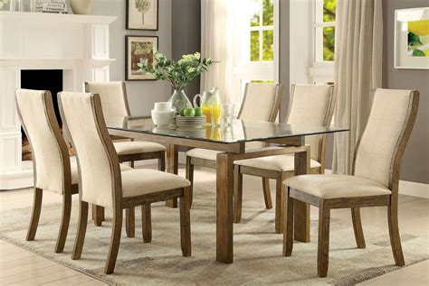 onway oak rectangular glass top dining room set
