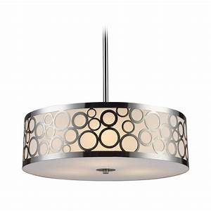 Modern drum pendant light with white glass in polished