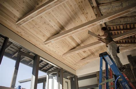 With the tongue and groove cedar, the ceiling really