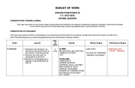 Budget Of Work 2 (1