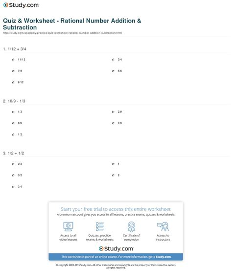 quiz worksheet rational number addition subtraction