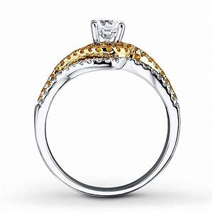 1 carat beautiful white and yellow diamond wedding ring With 1 carat wedding ring set