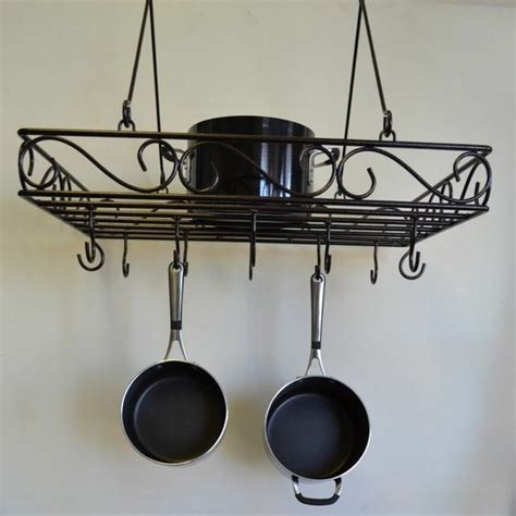 wire scrolled wrought iron pot rack pans holder storage hanging pots