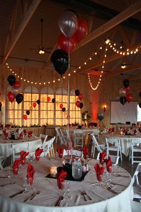 hollywood themed prom  black red  silver balloons
