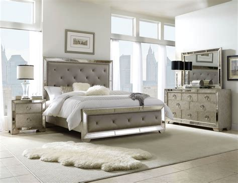 bedroom furniture sale 4133 10 farrah silver bedroom set bed 2 nightstands dresser mirror pulaski