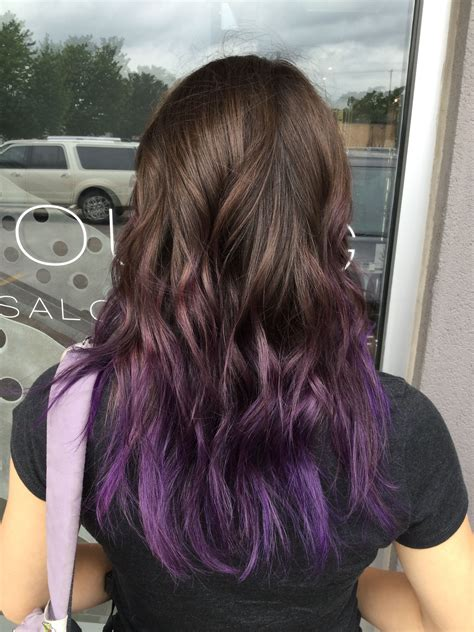 Purple Balayage Hair Purple Hair Color Tips Purple Ombre