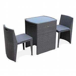 Salon Jardin 2 Places : table jardin r sine tress e ~ Teatrodelosmanantiales.com Idées de Décoration