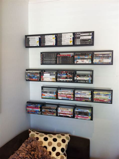 2 Black Lerberg CD DVD Rack Shelf Wall Mount Metal Steel