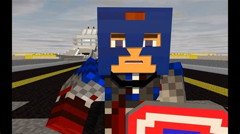 captain america  red skull  minecraft animation