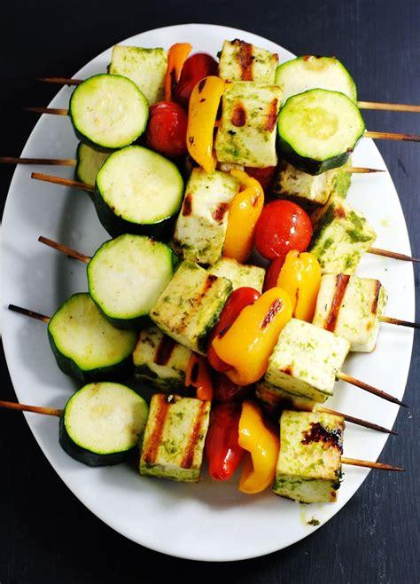 grilled zucchini  paneer kebabs white plate blank slate