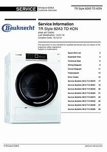 Bauknecht Tr Style 82a3 Td Kon Dryer Service Manual And