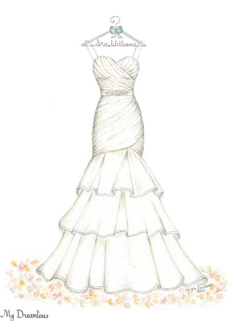 personalized handcrafted wedding sketch   dress