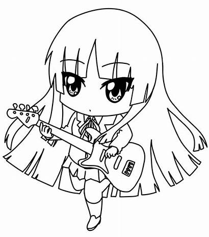 Chibi Coloring Anime Template Pages Characters Drawing