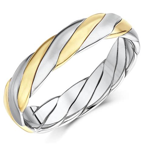 made 9ct gold two colour twist design wedding ring band 4mm 5mm ebay