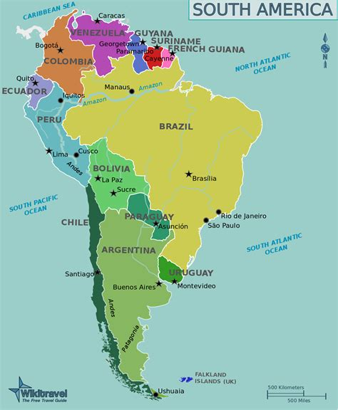map of south america political map english large