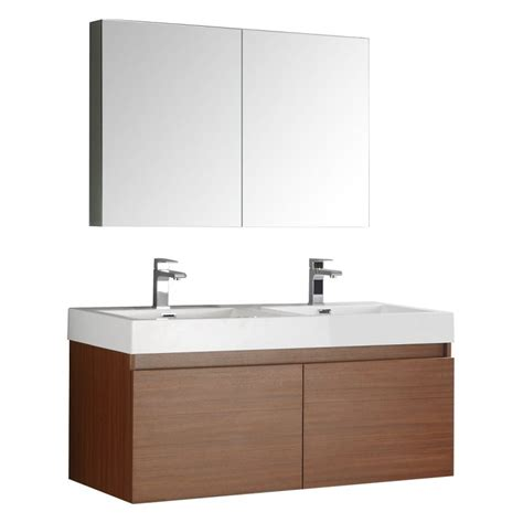 medical cabinets with sink fresca mezzo 48 quot teak wall hung double sink modern