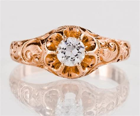 Antique 1930's 14k Rose Gold Diamond Engagement Ring #2598194 Furniture Of America Cabin Bed Antique Black Side Table Maps And Prints Hobart Art Exports Hairdressing Chairs Gold Aspen Fine Fair Suitcases Chinese Nesting Tables Carousel Horse Value