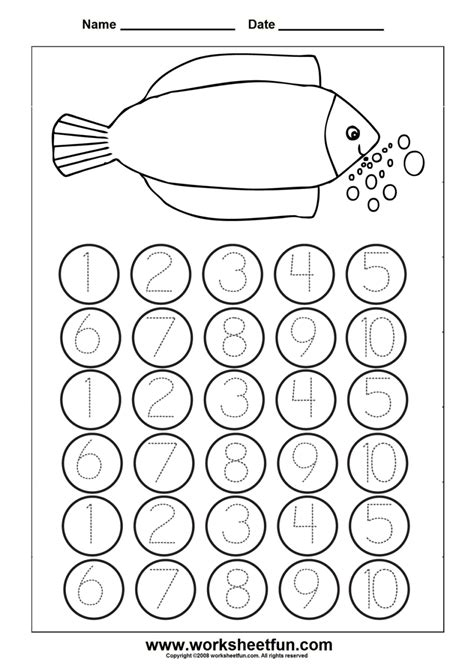 number worksheet numbers to kindergarten printable
