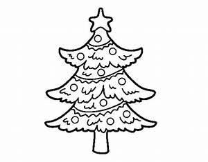 Disegno di Albero di Natale decorato da Colorare Acolore