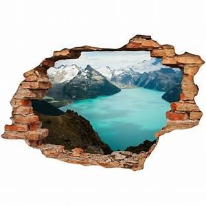Image Trompe L Oeil : sticker trompe l 39 oeil vue entre montagnes et mer ~ Melissatoandfro.com Idées de Décoration