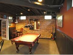 Basement Design Ideas Designing Any Room Can Be Tough But Rustic Basement Man Cave Billiards Room With Brick Wall And Exposed