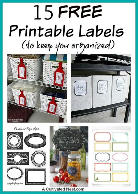 printable labels  organizing  cultivated nest