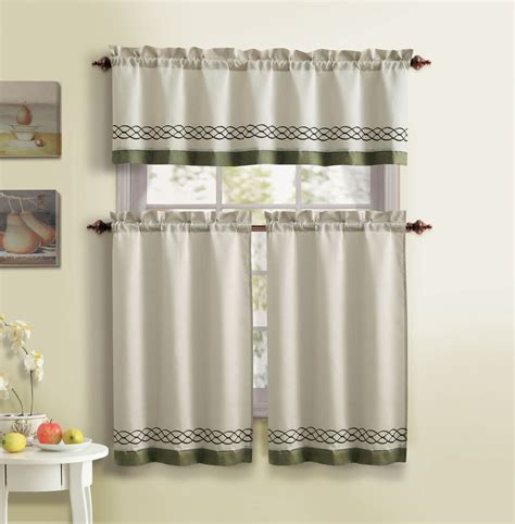 drapery sets and beige 3 kitchen curtain set 1 valance 2