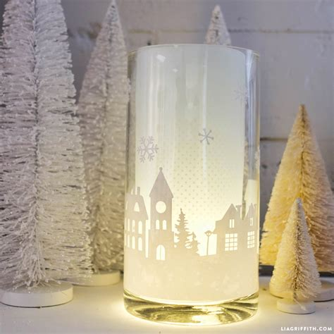 diy hurricane lamp winter home decor tutorial