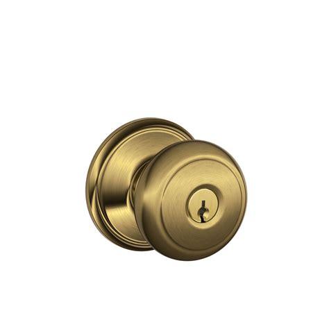 schlage door knob shop schlage f andover antique brass keyed entry door knob