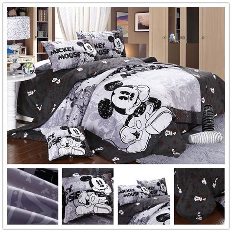 size character cotton white and black mickey mouse minnie bedding set