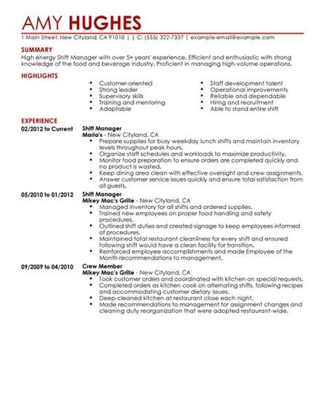 Resume For Fast Food Shift Manager shift manager resume exles food restaurant resume exles livecareer