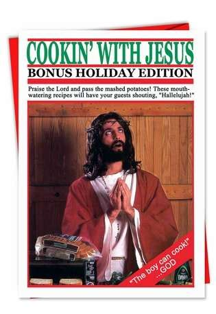 cooking  jesus funny christmas card