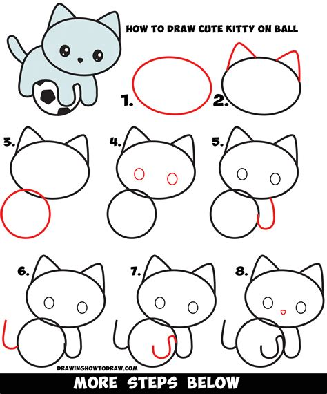 draw  cute kitten playing   soccer ball easy
