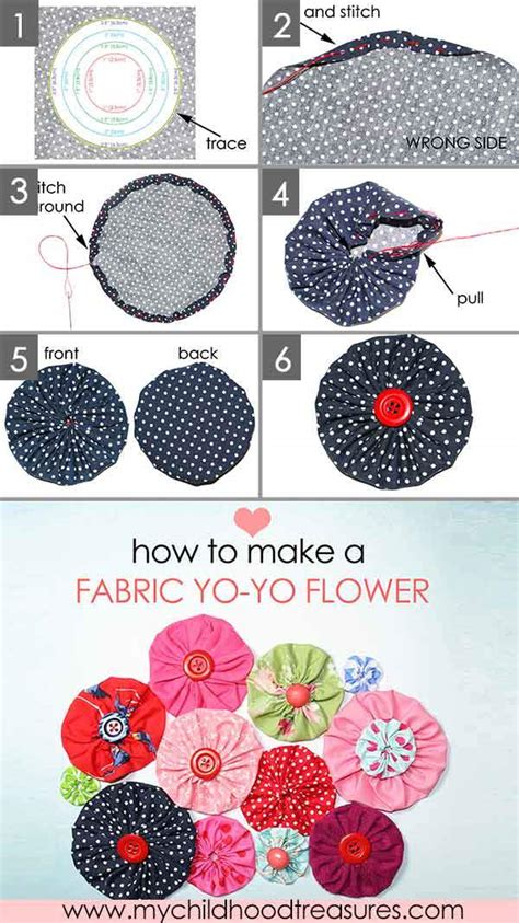 How To Make Upholstery Patterns by How To Make A Fabric Flower Yo Yo Easy Templates