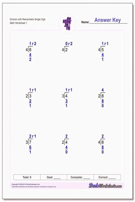 basic division  remainders worksheets worksheet