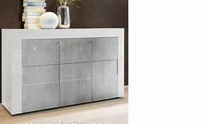 Buffet Effet Beton : buffet blanc laqu et effet b ton design ~ Teatrodelosmanantiales.com Idées de Décoration