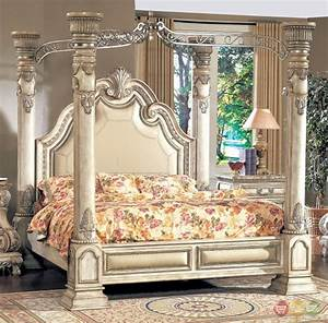 Victorian inspired antique white luxury california king for How to buy king size canopy bed