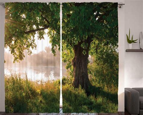 nature curtains oak tree decor  gadgets