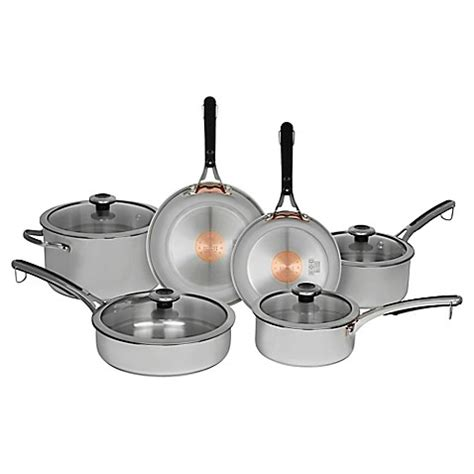 revere copper confidence core  piece stainless steel cookware set bed bath
