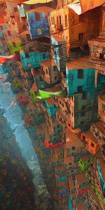 Cityscape Apartments Colorful Buildings
