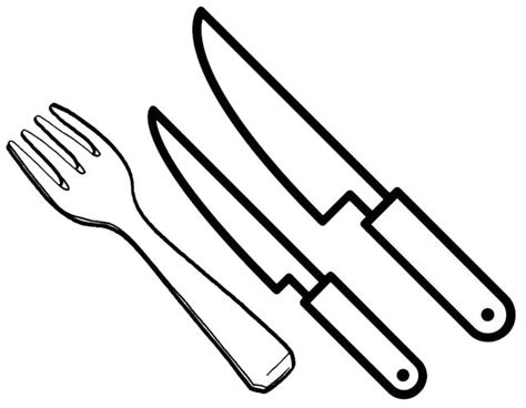 kitchen utensils fork  knives coloring page