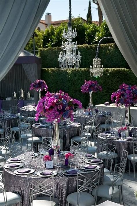 silver fuschia wedding reception decor purple