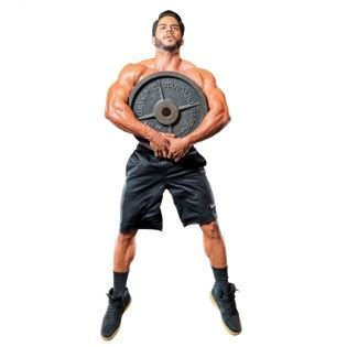 hugging plate squat jump muscle fitness