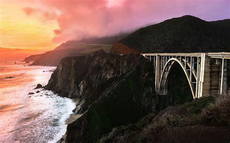 mountain sunset clouds landscape nature bridge