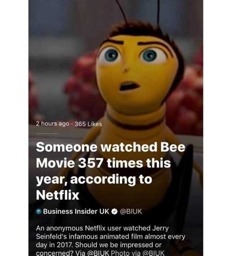 Bee Movie Meme - dopl3r com memes 2 hours ago 365 likes someone watched bee movie 357 times this year
