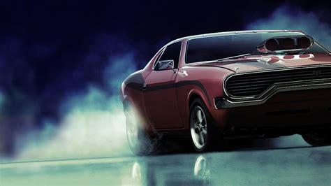 Cars Burnout Supercharger American Muscle Car Wallpaper