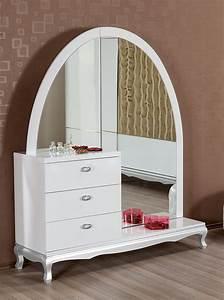 Coiffeuse Avec Miroir Laque Blanc